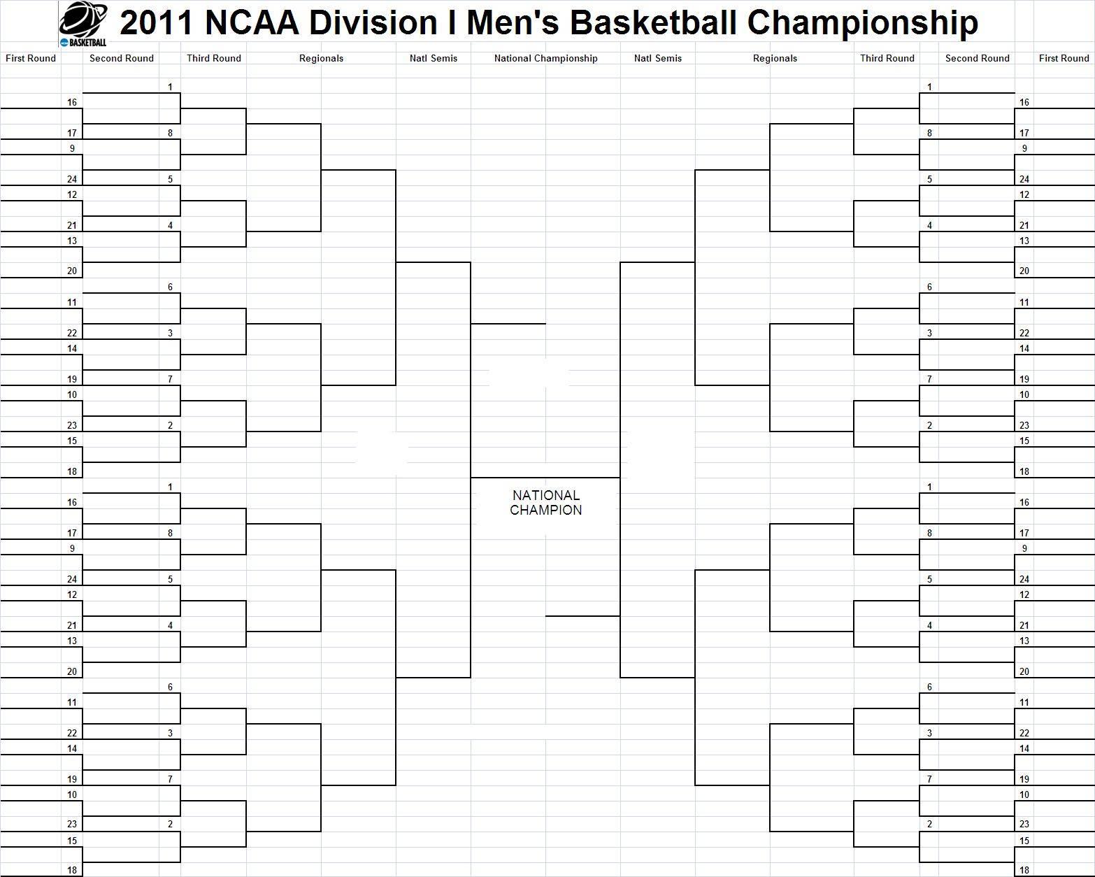 2011 bracketology predictions march madness bracket for Basketball tournament program template